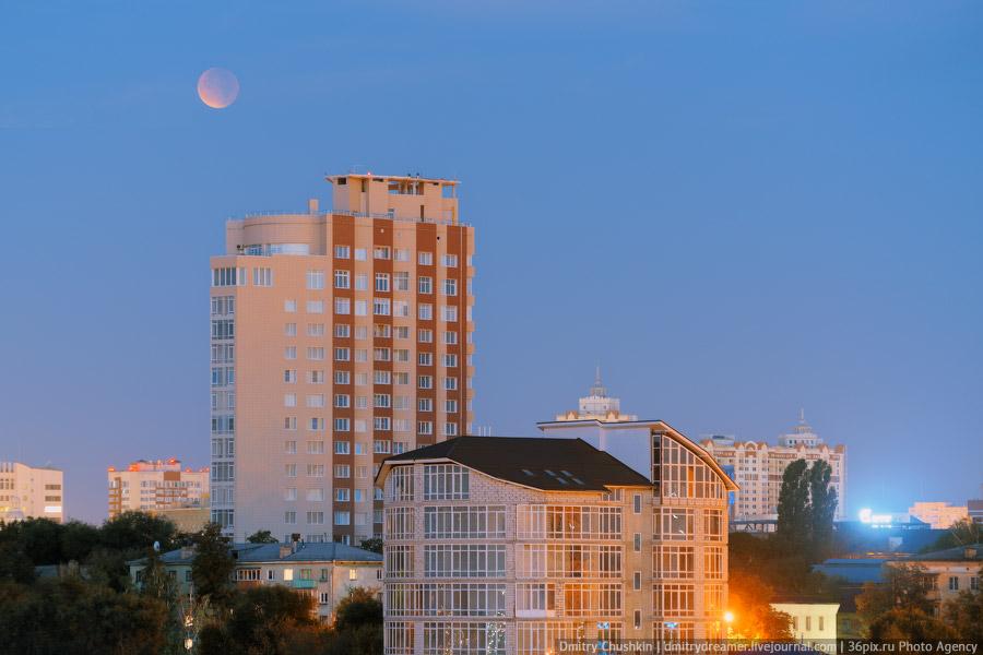 Лунное затмение в Воронеже во время суперлуния