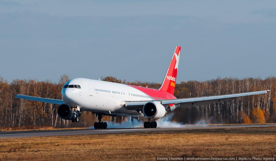 Дальнемагистральный Боинг-767-300ER а/к «Nordwind Airlines» в Воронеже